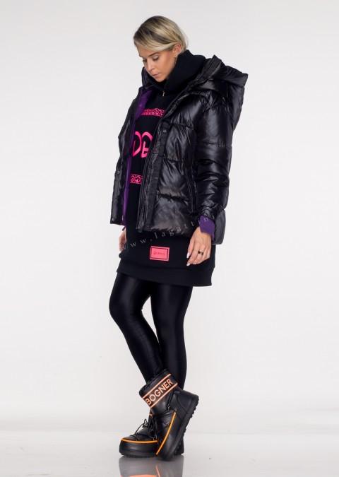 Włoska pikowana kurtka MASSIMO black&violet