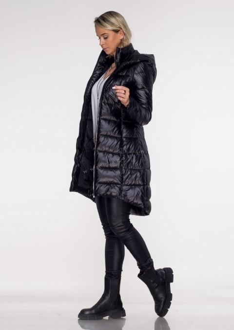 Włoski pikowany płaszczyk FRANCESCA asymetryczny czarny połysk