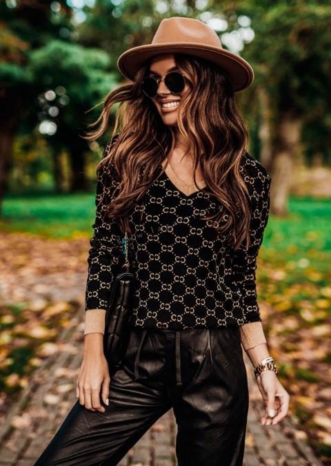 Sweterek COCOMORE PEGASUS czarno - beżowo - złoty