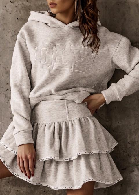 Komplet O'la Voga bluza + spódniczka OLV FRILL szary