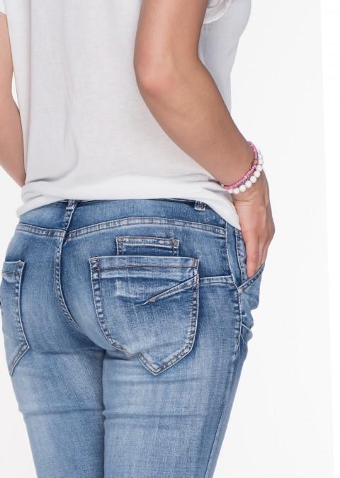 Włoskie jeansy PUSH UP OZDOBNA KIESZEŃ przecierany jeans 591