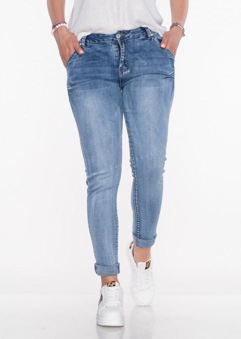 Włoskie jeansy PUSH UP OZDOBNA KIESZEŃ przecierany jeans