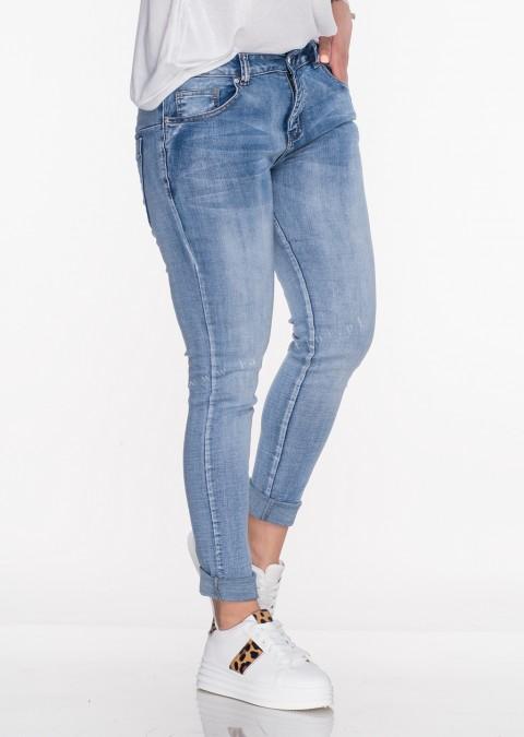 Włoskie jeansy PUSH UP PRZESZYCIA przecierany jeans
