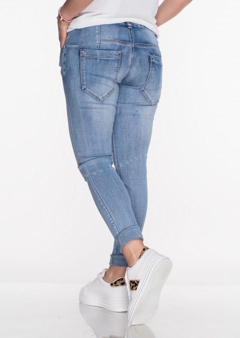 Włoskie jeansy PRZESZYCIA przecierany jeans 590