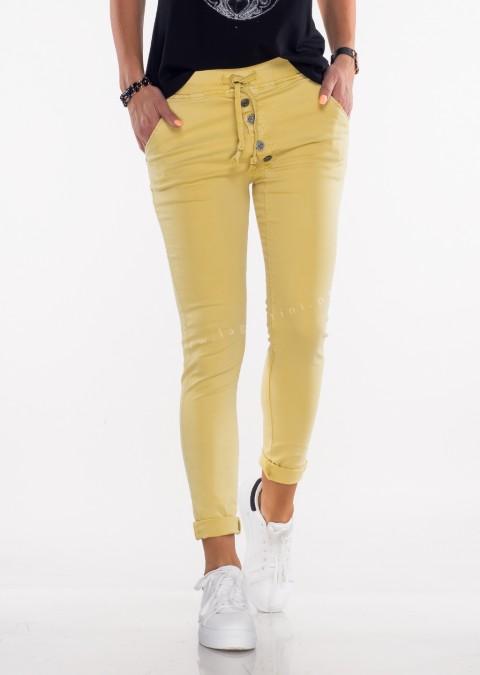 Włoskie spodnie ASYMETRYCZNE GUZIKI żółty