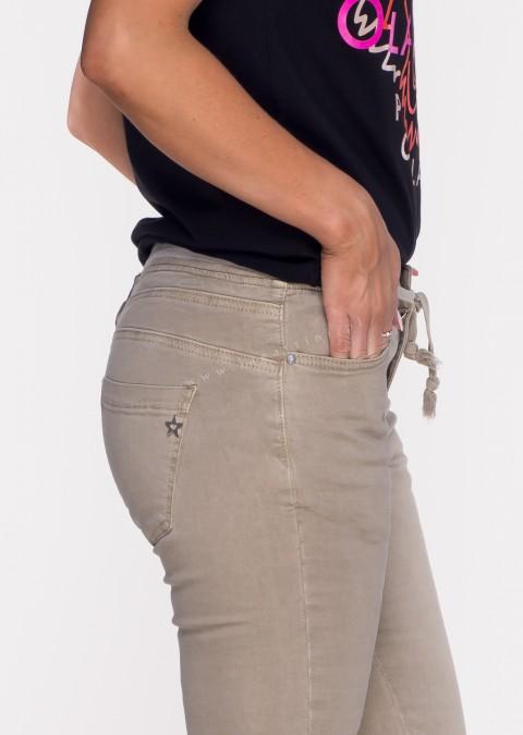 Włoskie jeansy SAGGIO LIMITED efektowny pas beżowe