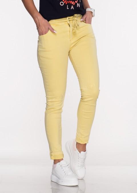 Włoskie jeansy SAGGIO LIMITED efektowny pas żółte