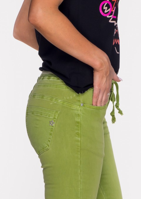 Włoskie jeansy SAGGIO LIMITED efektowny pas zielone