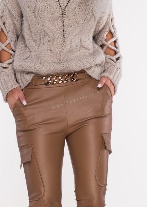 Włoskie spodnie MARGARET woskowane brązowe