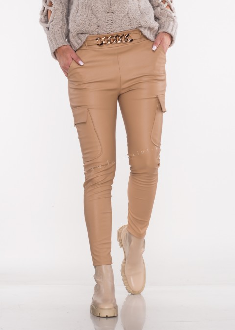 Włoskie spodnie MARGARET woskowane beżowe