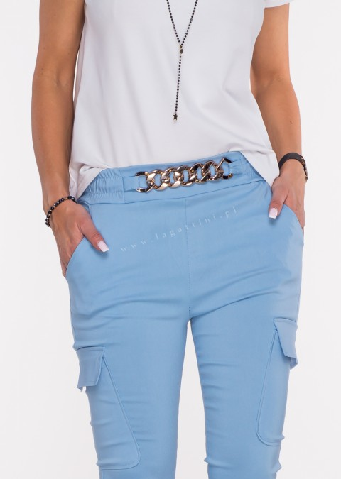 Włoskie spodnie MARGARET 2 materiałowe niebieskie