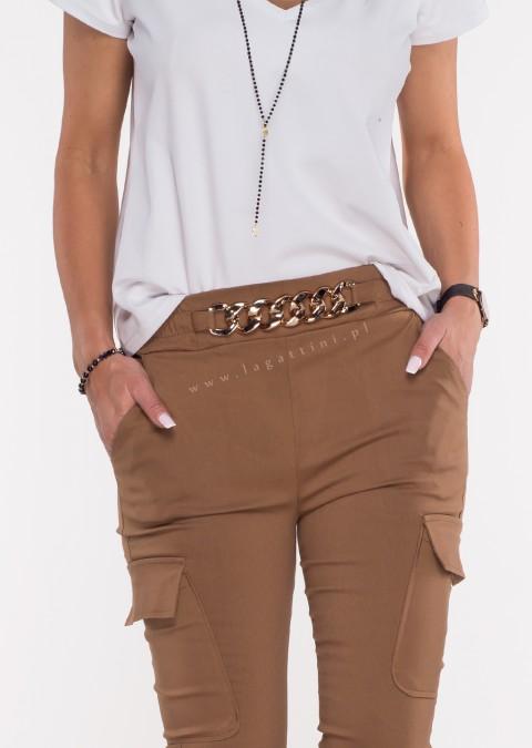 Włoskie spodnie MARGARET 2 materiałowe brązowe