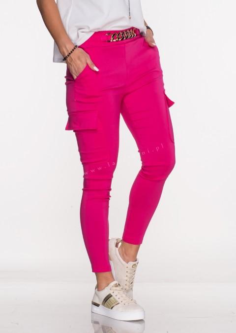Włoskie spodnie MARGARET 2 materiałowe fuksja