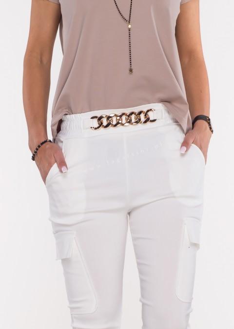 Włoskie spodnie MARGARET 2 materiałowe białe
