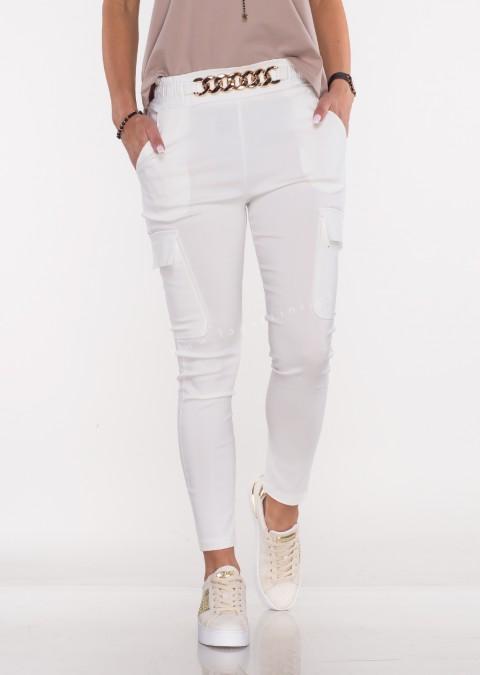 Włoskie spodnie MARGARET 2 materiałowe beżowe