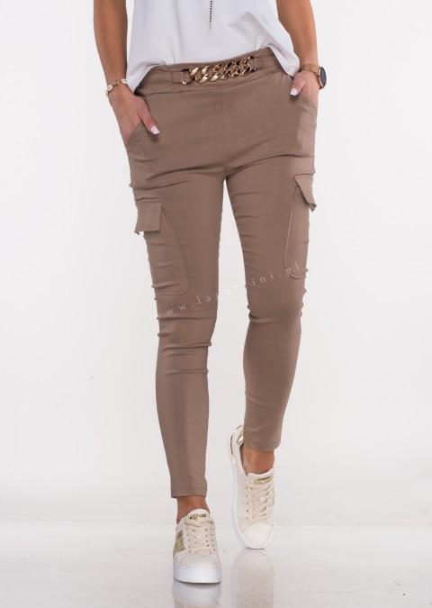 Włoskie spodnie MARGARET 2 materiałowe ciemny beż