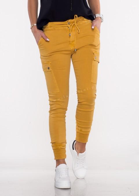 Włoskie jeansy Silver Buttons musztardowe