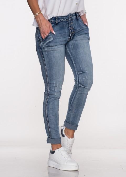 Włoskie jeansy PRZESZYCIA guziki jasny jeans 3