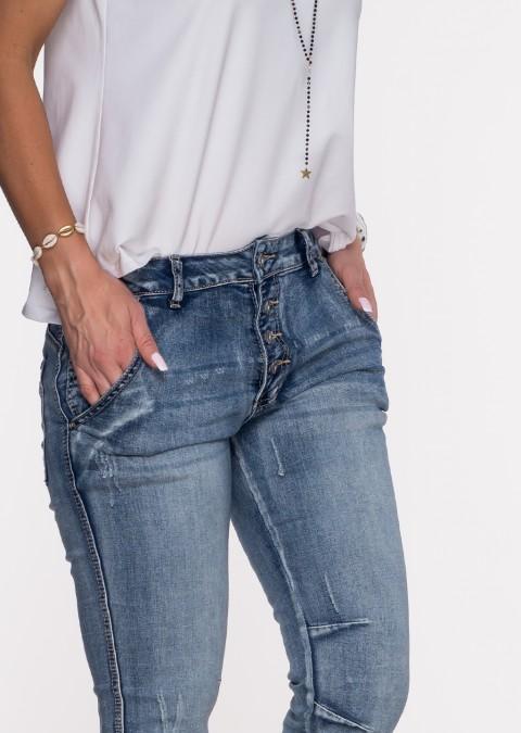 Włoskie jeansy PRZESZYCIA guziki ciemny jeans 3