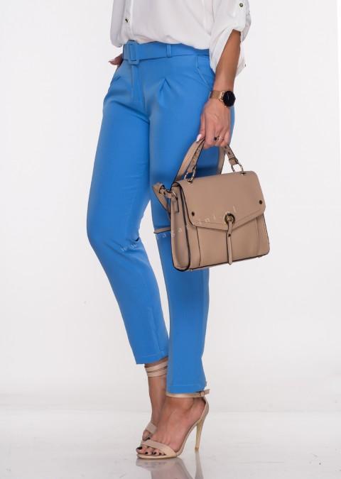 Włoskie eleganckie spodnie Office/Business Line + pasek niebieskie