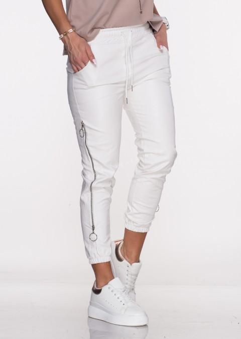 Spodnie JOGGERY CARLIS ECO LEATHER białe