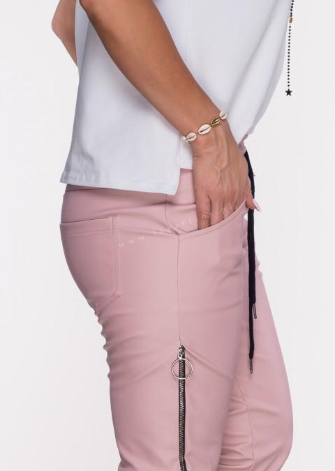 Spodnie JOGGERY CARLIS ECO LEATHER pastelowy róż