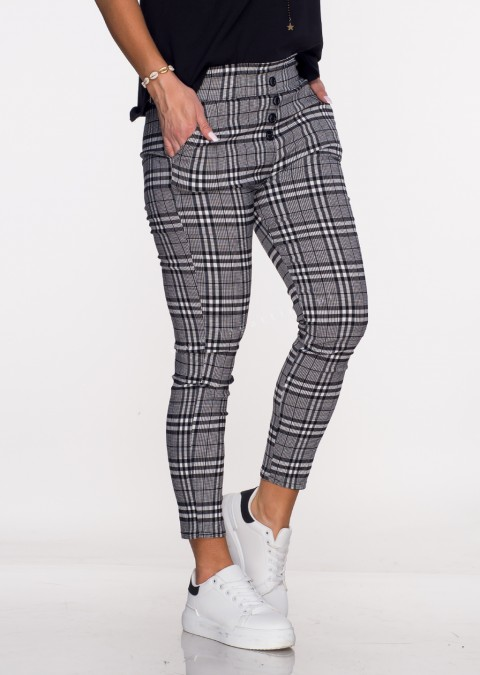 Włoskie spodnie JELLY guziki krata