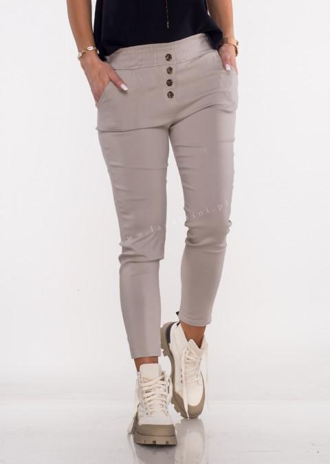Włoskie spodnie JELLY guziki beżowe