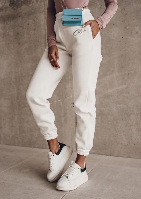 Spodnie dresowe O'la Voga SPORTY LOOK ecru