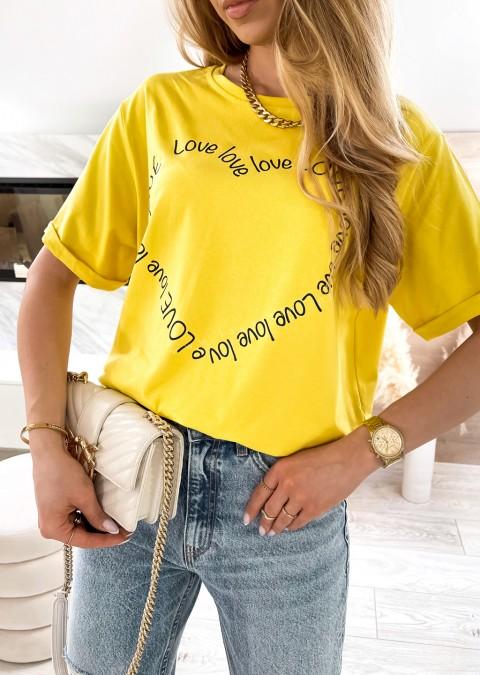 Włoski t-shirt LOVE LOVE żółty