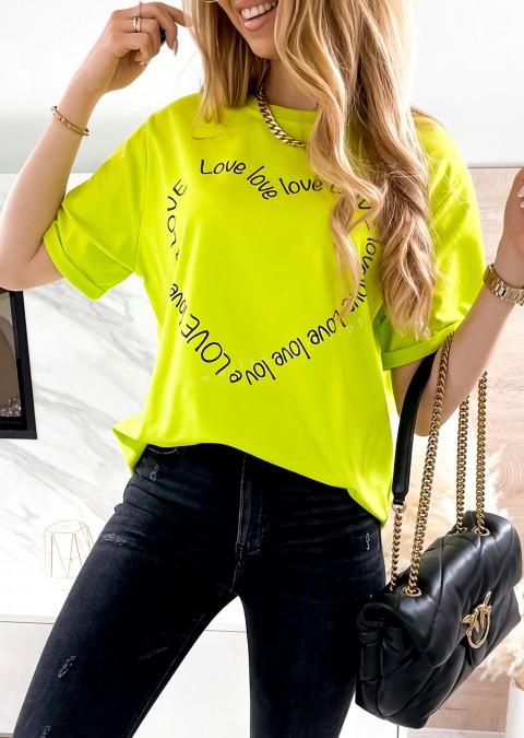 Włoski t-shirt LOVE LOVE limonkowy