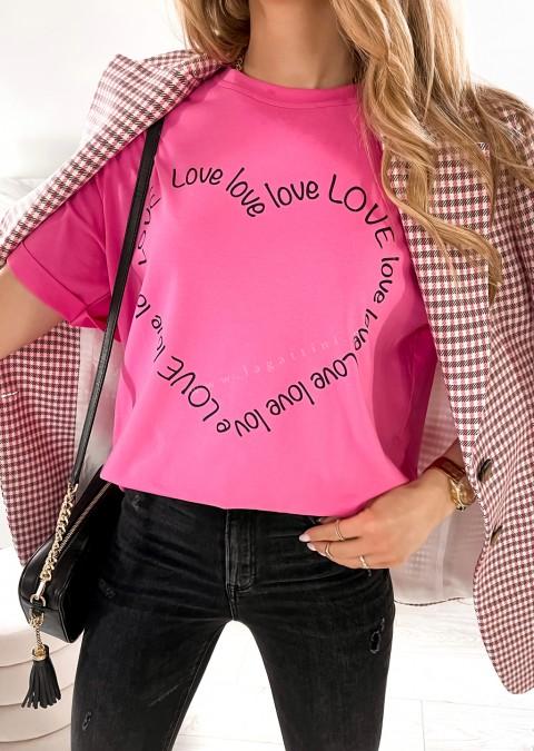 Włoski t-shirt LOVE LOVE ciemny róż