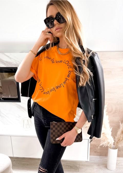 Włoski t-shirt LOVE LOVE pomarańczowy