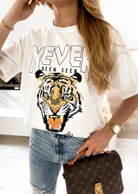 Włoski t-shirt NEVER BEEN SEE biały