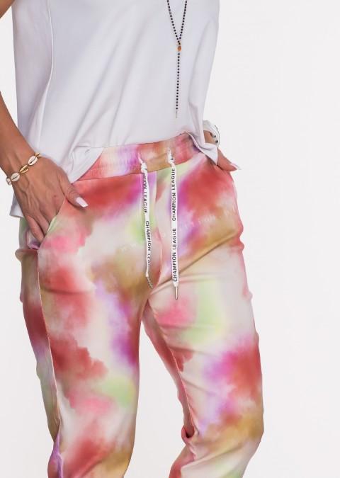 Włoskie spodnie TIE DYE logowany sznurek wzór 2