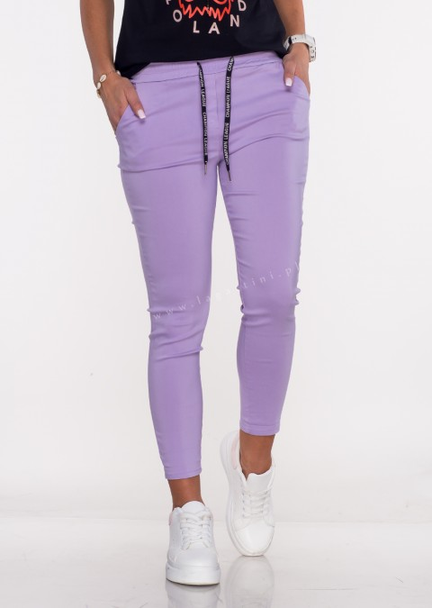 Włoskie spodnie CLASSIC logowany sznurek fioletowe