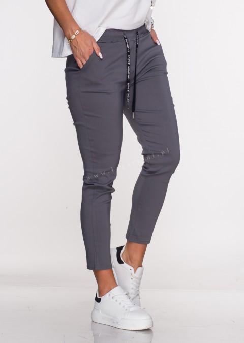 Włoskie spodnie CLASSIC logowany sznurek grafitowe