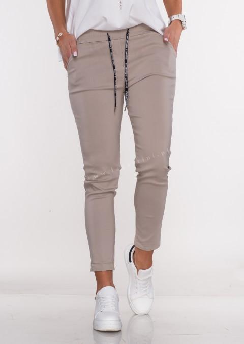 Włoskie spodnie CLASSIC logowany sznurek beżowe