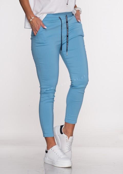 Włoskie spodnie CLASSIC logowany sznurek niebieskie