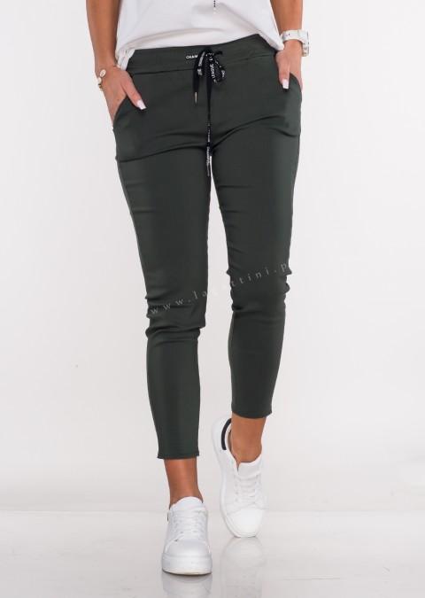Włoskie spodnie CLASSIC logowany sznurek khaki