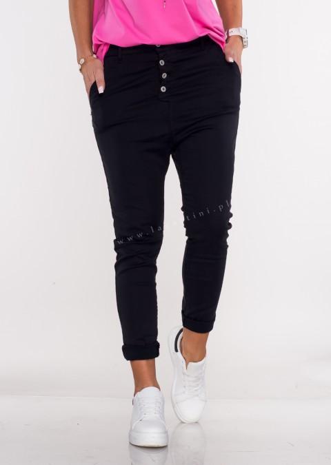 Włoskie jeansy BAGGY asymetryczne guziki czarne