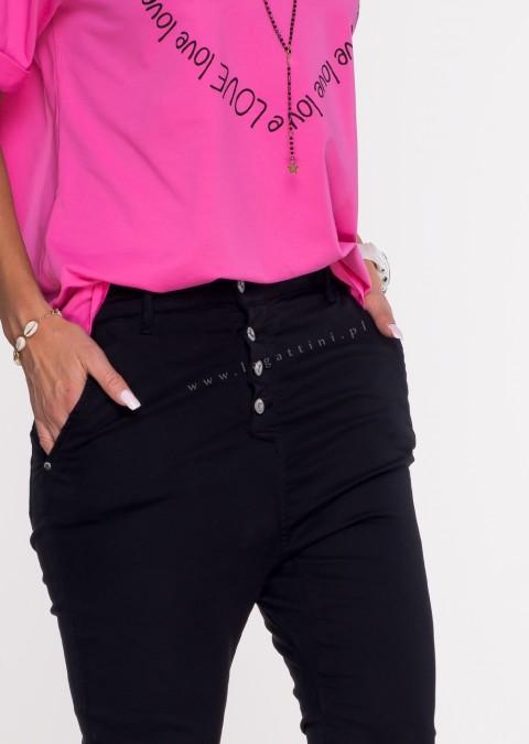 Włoskie jeansy BAGGY asymetryczne guziki