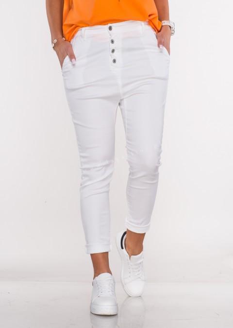 Włoskie spodnie BAGGY asymetryczne guziki białe