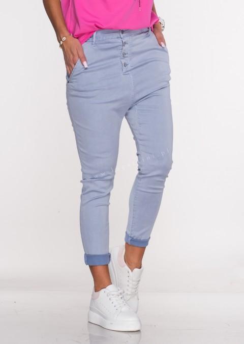 Włoskie spodnie BAGGY asymetryczne guziki niebieski/fiolet /37