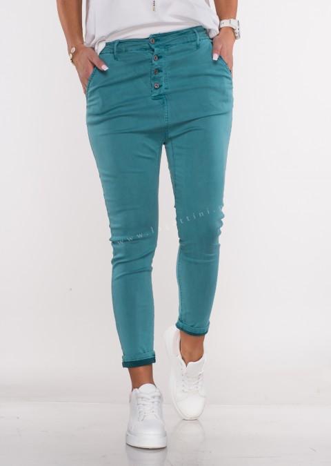 Włoskie spodnie BAGGY asymetryczne guziki turkusowe /65