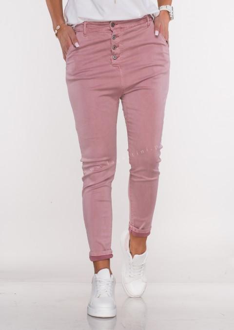 Włoskie spodnie BAGGY asymetryczne guziki różowe