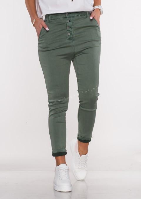 Włoskie spodnie BAGGY asymetryczne guziki khaki
