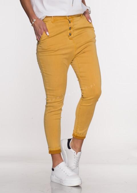Włoskie spodnie BAGGY asymetryczne guziki musztardowe