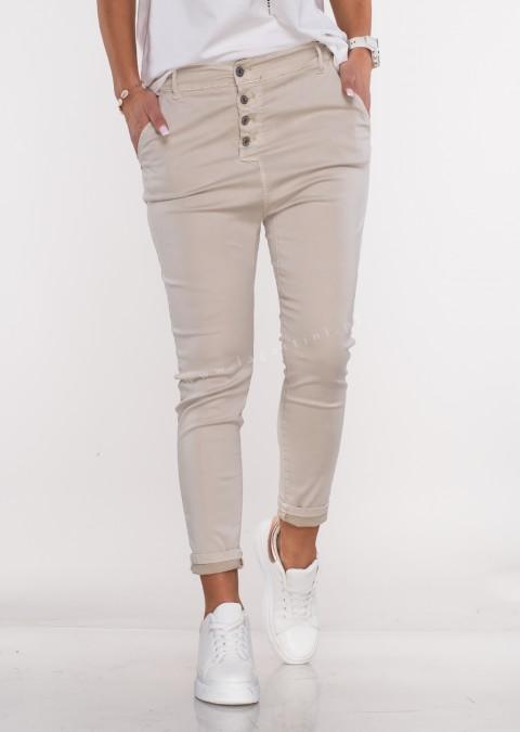Włoskie spodnie BAGGY asymetryczne guziki beżowy /38