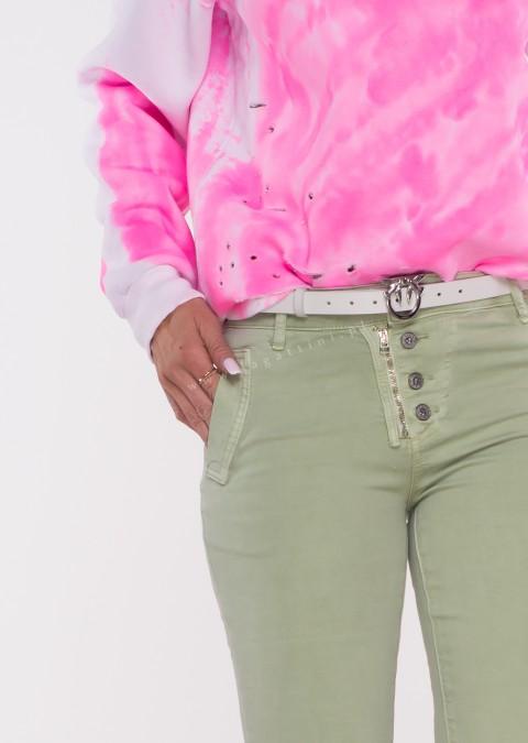 Włoskie jeansy LAGGIO ZAMEK&GUZIKI oliwkowe /70
